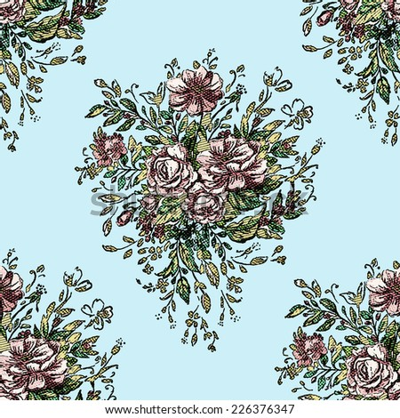 Beautiful vintage seamless floral pattern background. Flower bouquets of roses - stock vector