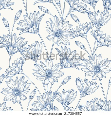 Beautiful vintage seamless pattern with blue daisies on a white background. - stock vector