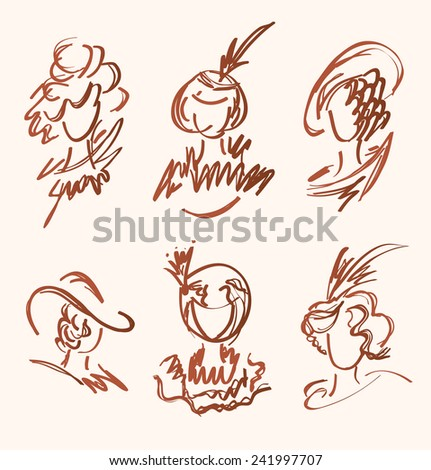 Beautiful vintage set with women heads. Vector retro collection of sketchy ladies portraits - stock vector