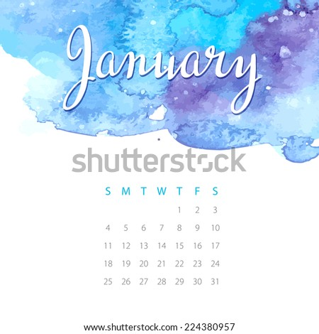Beautiful watercolor calendar. January. Vector illustration - stock vector