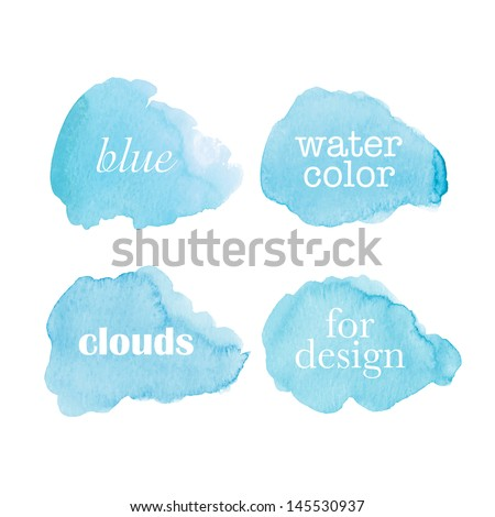 Beautiful watercolor clouds. Vector illustration - stock vector