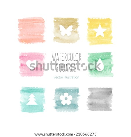 Beautiful watercolor elements for design. Color squares. Watercolor icons. Vector illustration - stock vector