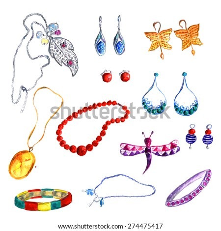 Beautiful watercolor set of jewellery items. Hand drawn accessories: necklace, earrings, beads, brooch with dragonfly and bracelets. Vector illustration. - stock vector