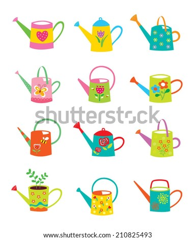 beautiful watering can vector - stock vector