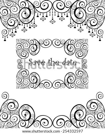 Beautiful wedding banner with swirly design - stock vector