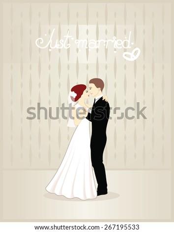 Beautiful wedding card, vector illustration - stock vector