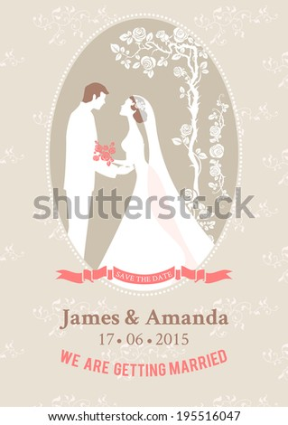 Beautiful wedding card with silhouettes of the bride and groom. - stock vector