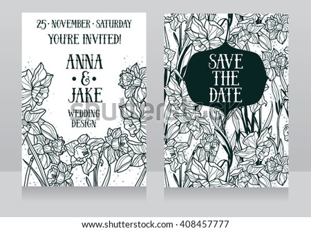 Beautiful wedding cards in art deco retro style with narcissus flowers, vector illustration - stock vector