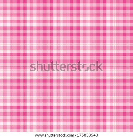 Beautiful white and pink gingham fabric pattern. Vector background. - stock vector