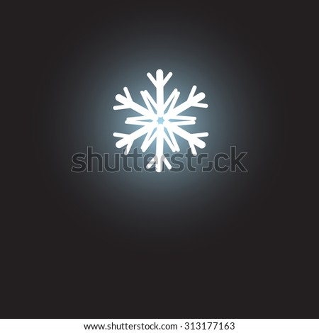 beautiful white snowflake symbol on a dark background - stock vector