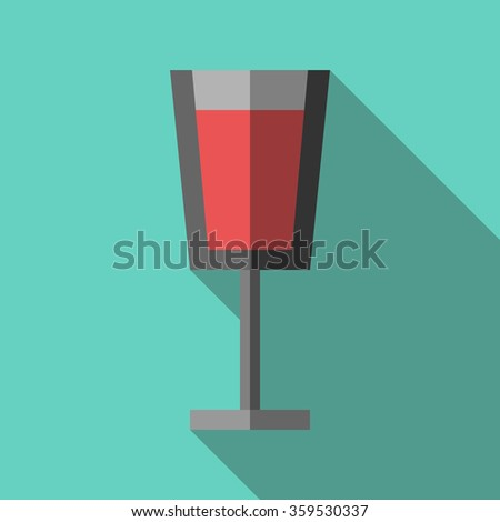 Beautiful wineglass full of red beverage on turquoise blue background with long shadow. Flat style. EPS 8 vector illustration, no transparency - stock vector