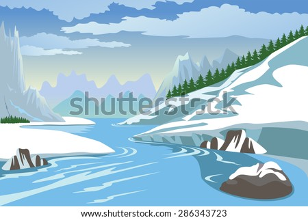 Beautiful winter landscape with mountain and river - stock vector