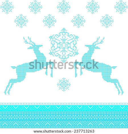 Beautiful winter ornament with deer and snowflakes  - stock vector
