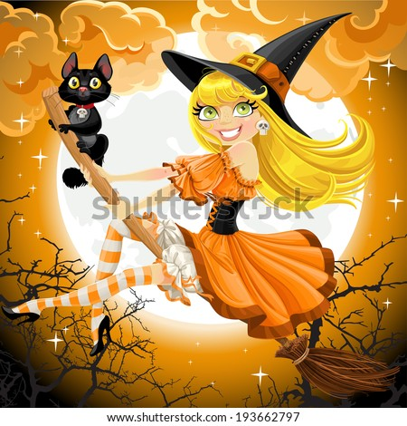 Beautiful witch and her black cat familiar flying on a broomstick on Halloween sky - stock vector