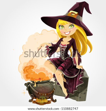 Beautiful witch sit on grave with the boiler of potion - stock vector