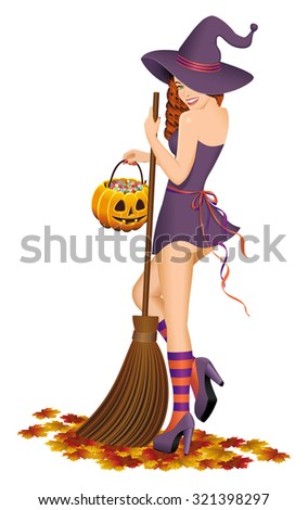 Beautiful witch with a broom. Halloween concept. Isolated on white background.Vector illustration. - stock vector