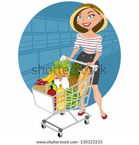 Beautiful woman at supermarket - stock vector