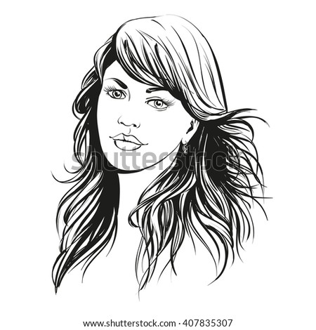 beautiful woman face hand drawn vector illustration sketch - stock vector