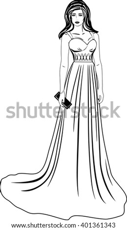 Beautiful woman in a long dress. Black and white. Vector - stock vector