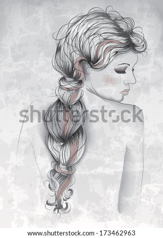 Beautiful woman in hand drawn style - stock vector