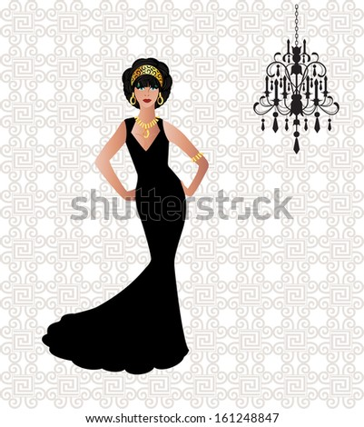 Beautiful Woman in long black gown - stock vector