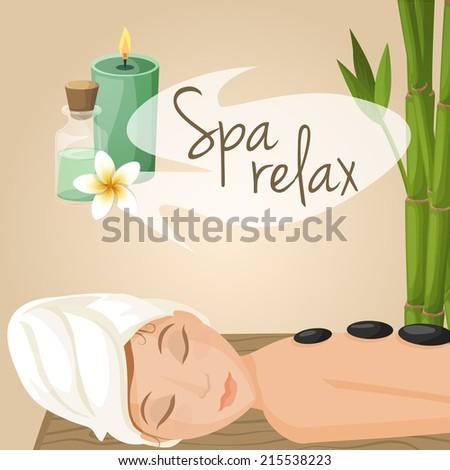 Beautiful woman laying spa relax massage procedure vector illustration - stock vector