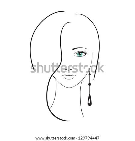 Beautiful woman portrait - stock vector
