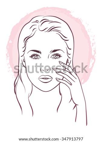 Beautiful woman portrait. Face care Vector illustration. - stock vector