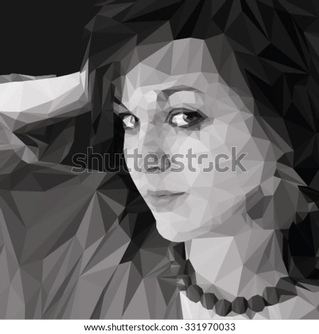Beautiful woman portrait in triangle style - black and white version - stock vector