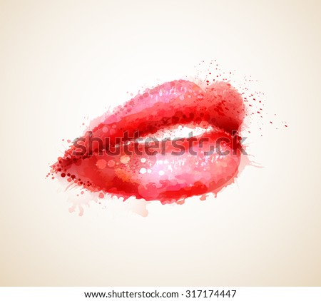 Beautiful woman red  lips formed by abstract blots - stock vector