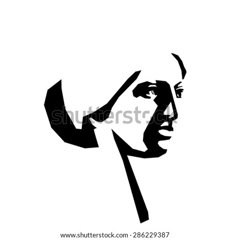 Beautiful woman's face. Ink drawing. Sketch. Angular lines. - stock vector