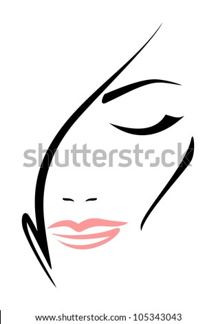 Beautiful woman's face with closed eyes on white background. Vector. - stock vector