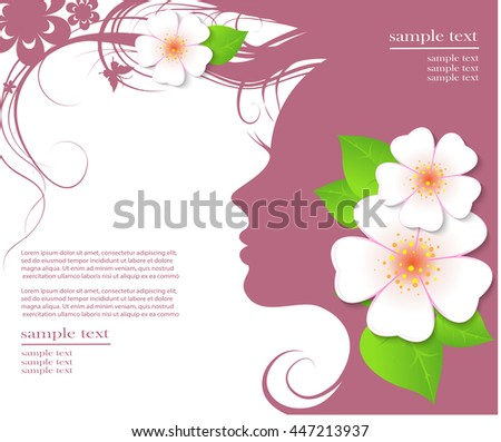 Beautiful woman's face with the flower in her hair. Vector illustration - stock vector