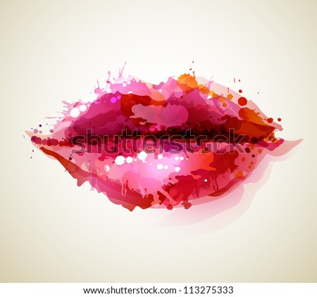 Beautiful woman�s lips formed by abstract blots - stock vector