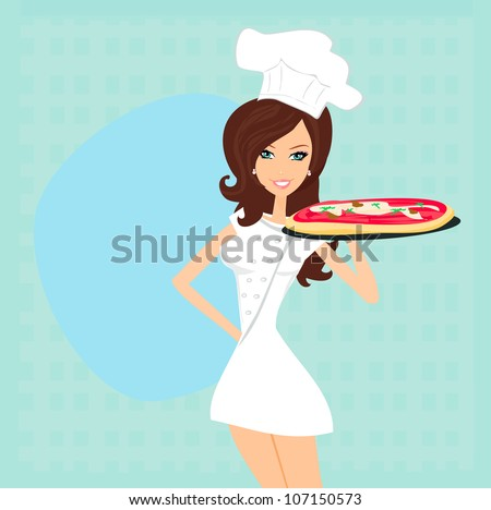 beautiful woman serving pizza - stock vector