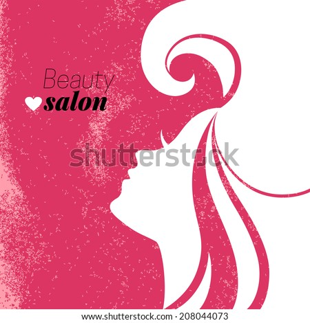 Beautiful woman silhouette. Beauty salon poster. Vector illustration - stock vector