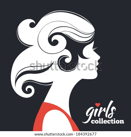 Beautiful woman silhouette. Girls collection - stock vector