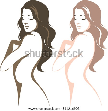 Beautiful woman silhouette linear vector drawing  - stock vector