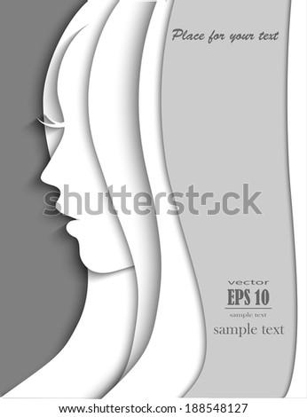 Beautiful woman silhouette, vector portrait - stock vector
