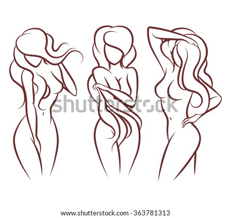 Beautiful woman vector silhouette. Beautiful girl body, fashion young sexy person lady illustration - stock vector
