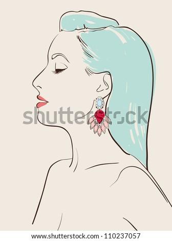 beautiful woman wearing jewelry earring vector illustration eps 10 - stock vector