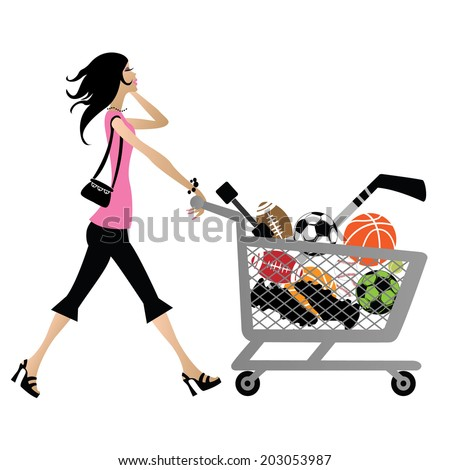 beautiful woman  wearing pink and black walking pushing shopping cart isolated - stock vector