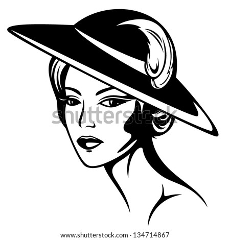 beautiful woman wearing vintage hat - black and white vector illustration - stock vector