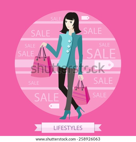 Beautiful woman with a lot of shopping bags. Lifestyle concept in cartoon style - stock vector