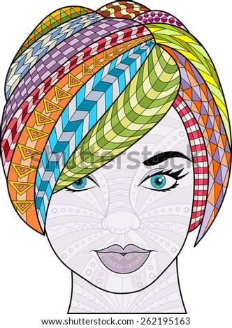 Beautiful woman with colorful short hair. Exotic girl. - stock vector