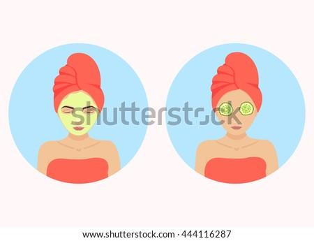 Beautiful woman with facial mask of cucumber on her face. Beauty treatment therapy. Vector illustration. - stock vector