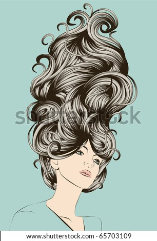Beautiful woman with funky detailed hair - stock vector
