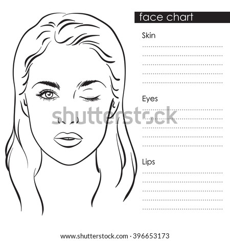Beautiful woman with one eye closed. Face chart Makeup Artist Blank Template. Vector illustration. - stock vector