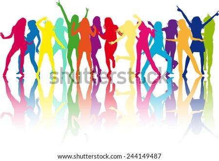 beautiful women dancing - stock vector