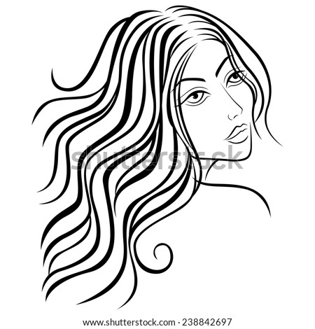 Beautiful women head with long hair, sketching vector illustration - stock vector